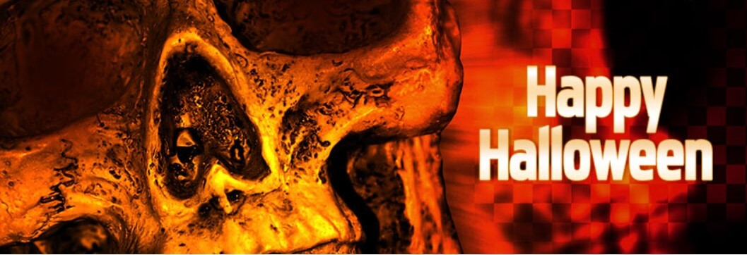 Happy Halloween Skull Face Facebook Cover