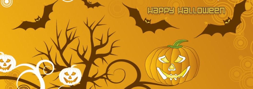 Pumpkins Happy Halloween Bats Swirls Facebook Cover
