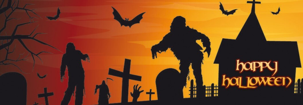 Zombies Cemetery Bats Happy Halloween Facebook Cover